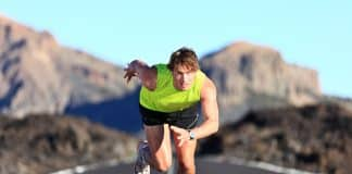 Sprinter running on road
