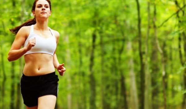 woman running forest