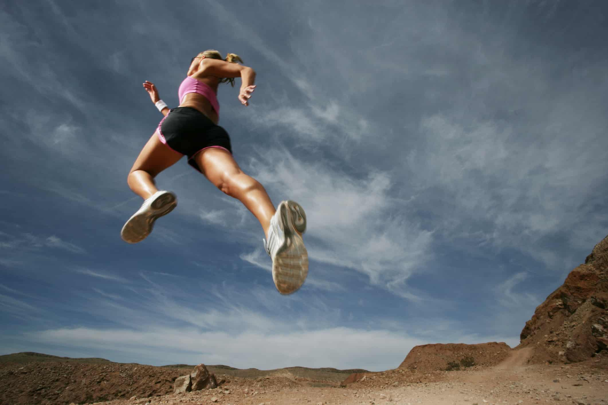 woman jump running