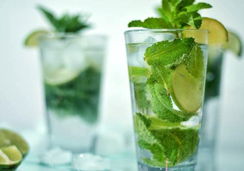 Fresh mojito cocktail with lime and ice