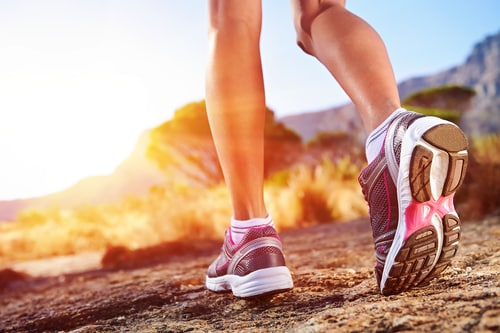 woman legs run
