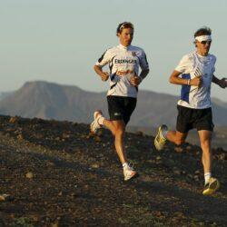 Andreas and Michael Raelert trail run near Playitas Hotel on Fuerteventura, Canary Islands, Spain.
